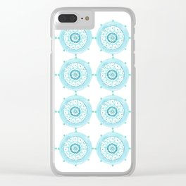 Blue Watercolor Medallions Clear iPhone Case