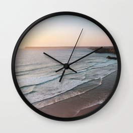 Sunset Beach Print, Sagres Portugal, Printable Photography, Landscape Poster, Waves, Sea Poster Wall Clock