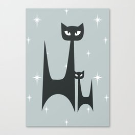 Mid Century Atomic Blue Cats Canvas Print