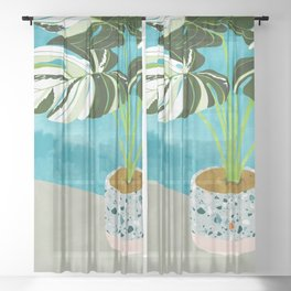 Variegated Monstera #tropical #painting #nature Sheer Curtain