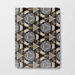 Gray and Gold Abstract Geometric Part IV. Metal Print