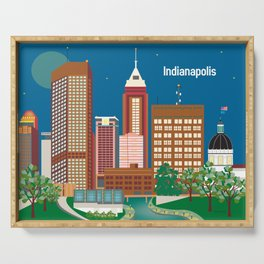 Indianapolis, Indiana - Skyline Illustration by Loose Petals Serving Tray