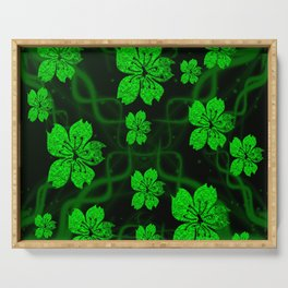 artfully painted green asian  blossoms on the dark background Serving Tray