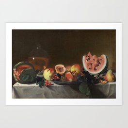 Pensionante del Saraceni - Still Life with Fruit and Carafe Art Print