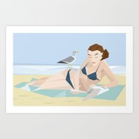 reading Art Prints featuring Reading by Stef Rymenants