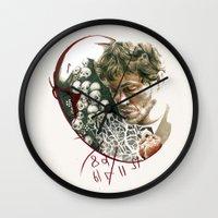 will graham Wall Clocks featuring Hannibal - Will Graham by Caeruls