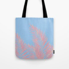 Palm Leaves Pink And Blue Tote Bag