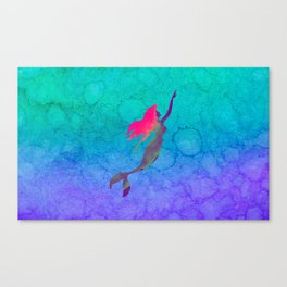 Ariel, The Little Mermaid Ombre Watercolor Canvas Print