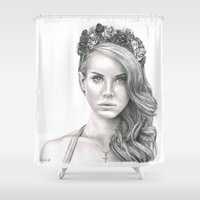the national Shower Curtains featuring National Anthem by petitehoneybee
