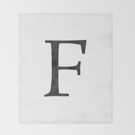 Letter F Initial Monogram Black and White Throw Blanket