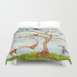 Tree with animals.Bunch of cute little creatures gathered on the branches of tree Duvet Cover