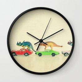 Dinosaurs Ride Cars Wall Clock