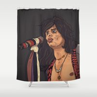 tyler spangler Shower Curtains featuring Steven Tyler by Matheus Lopes