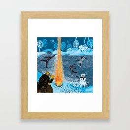 Holiday Skaters Framed Art Print