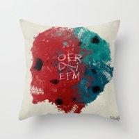 calavera Throw Pillows featuring calavera sisters by DizzyNicky