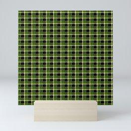 Green Plaid Black Background Mini Art Print