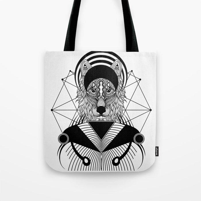 Zentangle Wolf Tote Bag