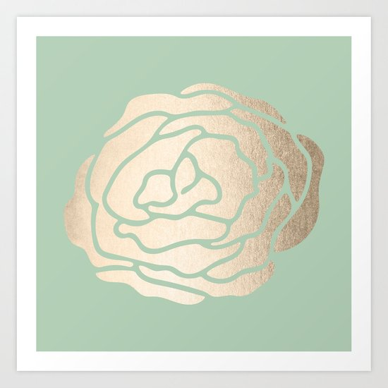 Rose White Gold Sands on Pastel Green Cactus Art Print