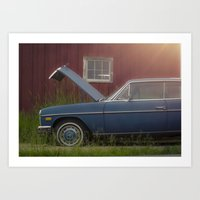mercedes Art Prints featuring Old blue Mercedes by Katie Jean Images