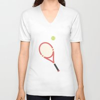 tennis V-neck T-shirts featuring #19 Tennis by MNML Thing