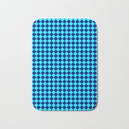 Cyan and Navy Blue Diamonds Bath Mat