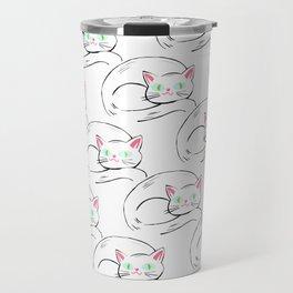 Cozy White Kitty Pattern Travel Mug