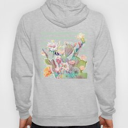 Watercolor cactus, floral and stripes design Hoody