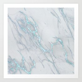 Marble Love Sea Blue Metallic Art Print