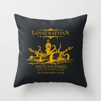 whiskey Throw Pillows featuring Lovecraftian Whiskey by pigboom el crapo