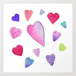Watercolor Hearts on White Art Print