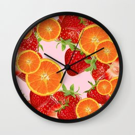 ORANGE SLICES & STRAWBERRIES DESSERT Wall Clock
