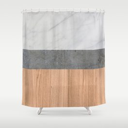 Carrara Marble, Concrete, and Teak Wood Abstract Shower Curtain