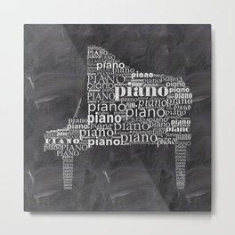 Piano on chalkboard Metal Print