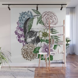 Floral Skull Etching Wall Mural