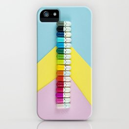 Happy little rainbow pills iPhone Case