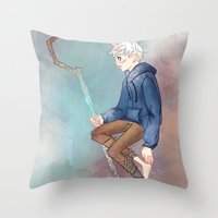 jack frost Throw Pillows featuring Jack Frost by Rosita Maria