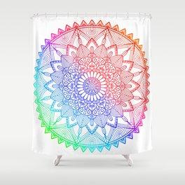 Rainbow Mandala Doodle Shower Curtain