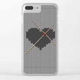 Original Knitted Heart Design Clear iPhone Case