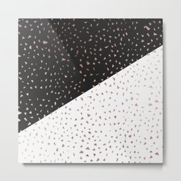 Speckled Rose Gold Flakes on Black White Geometric Metal Print