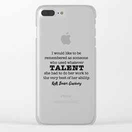 Ruth Bader Ginsburg Notorious RBG Talent Clear iPhone Case