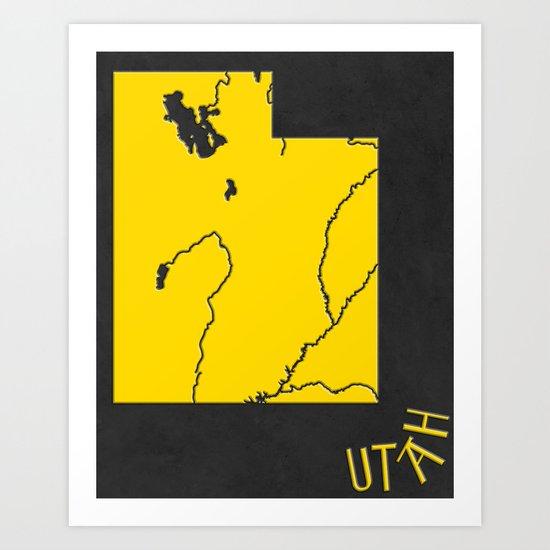 Utah State Map Art Print
