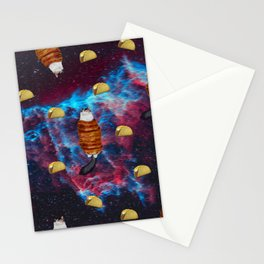 Cat Bacon and Taco Space Stationery Cards