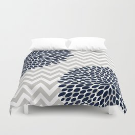 Chevron Floral Modern Navy and Grey Duvet Cover