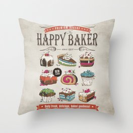 Happy Baker Throw Pillow