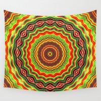 trippy Wall Tapestries featuring Trippy mandala  by Mi Nu Ra