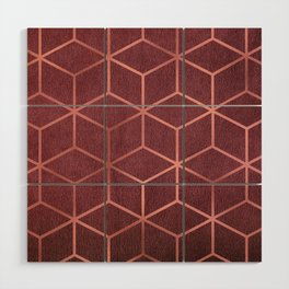 Pink and Rose Gold - Geometric Textured Gradient Cube Design Wood Wall Art