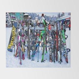 Ski Party - Skis and Poles Throw Blanket