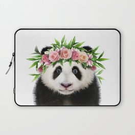 Baby Panda With Flower Crown, Baby Animals Art Print By Synplus Laptop Sleeve