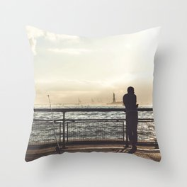 Lady Liberty, my man, some fisher people. Throw Pillow
