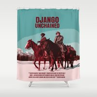 django Shower Curtains featuring Django Unchained Movie Poster  by FunnyFaceArt